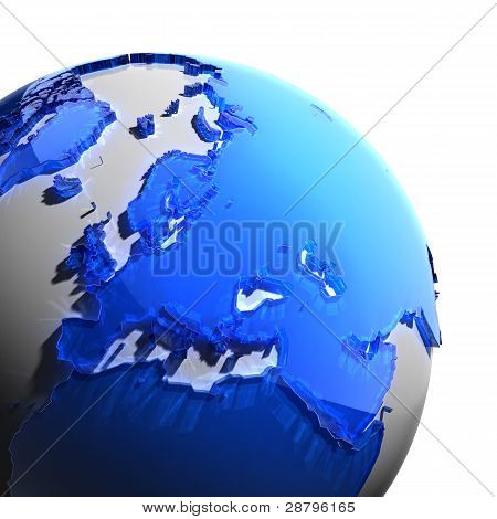 A Fragment Of The Earth With Continents Of Blue Glass