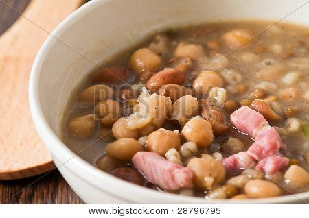 Borlotti bean and spelt soup.
