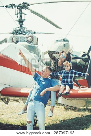 poster of Flight Ahead. Helicopter Tour And Travel. Family Vacation. Family Couple With Child On Vacation Trip