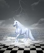 Beautiful Horse Gallops In A Surreal Seascape - 3d Illustration poster
