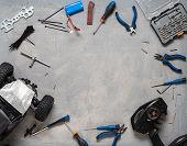 Radio-controlled Car Models: Repair Kit For Rc Models. Top View. poster