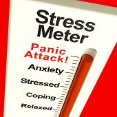stock photo of panic  - Stress Meter Showing  Panic Attack From Stress And Worry - JPG