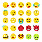 Emoticons Set. Emoji Faces Emoticon Funny Smile Vector Packs Collection poster