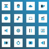 Multimedia Icons Colored Set With Computer Mouse, Start, Mute And Other Power Elements. Isolated Vec poster