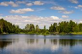 Beautiful Landscape With Lake And Clouds. Vuoksa Lake - A Picturesque Lake In Leningradskaya Oblast, poster