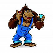 stock photo of handphone  - Cartoon gorilla wearing a mechanic was talking by cell phone with one hand and the other was writing a message - JPG