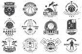 Set Of Basketball College Club Badge. Vector Illustration. Concept For Shirt, Print, Stamp Or Tee. V poster