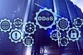 Ddos Cyber Attack. Technology, Internet And Protection Network Concept. Server Datacenter Background poster