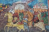 foto of constantinople  - Old religious paintings on Moldovita monastery wall - JPG