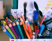 Colored Pencils Stand In The Stand On The Table, Creativity poster