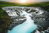 Bruarfoss Waterfall In Brekkuskogur, Iceland. poster