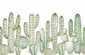 Cactus Seamless Pattern. Sketch Desert Cactuses Plants Endless Border For Western Landscape Vector I poster