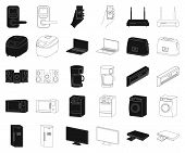 Smart Home Appliances Black, Outline Icons In Set Collection For Design. Modern Household Appliances poster