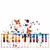 Colorful Piano Keys With Music Notes Isolated Vector Illustration Design. Music Background. Piano Ke poster
