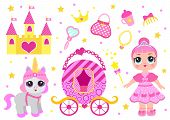 Set Of Cute Little Princess, Castle, Pony, Crown Carriage And Accessories. Fairy Tale Baby Girl Prin poster