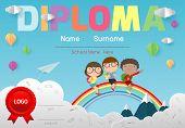 Certificates Kindergarten And Elementary, Preschool Kids Diploma Certificate Pattern Design Template poster