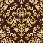 Classic Seamless Vector Pattern. Damask Orient Ornament. Classic Vintage Brown And Golden Background poster
