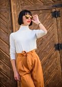 Fashionable Outfit Slim Tall Lady. Woman Walk In Elegant Outfit. Fashion And Style Concept. Woman Fa poster