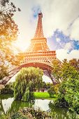 Eiffel Tower seen from the park in Paris, France. European touristic symbol. Travel destination. poster