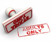 Adults Only. Red Seal And Imprint Adults Only On White Surface. Isolated. 3d Illustration poster
