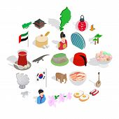 Spirit Of Japan Icons Set. Isometric Set Of 25 Spirit Of Japan Vector Icons For Web Isolated On Whit poster