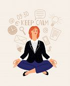 Woman Office Meditation. Cartoon Young Businesswoman Relaxing Meditates, Beautiful Corporate Girl Me poster