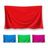 Red Silk Cloth Set Vector. Fabric Cloth Waving Shape. For Presentation. Banner. Velvet Luxury Textil poster