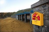 foto of safe haven  - a rescue buoy at a beach in ireland