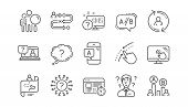 Ux Line Icons. Ab Testing, Journey Path Map And Question Mark. Quiz Test Linear Icon Set.  Vector poster