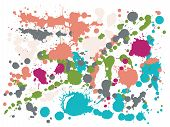 Watercolor Paint Stains Grunge Background Vector. Futuristic Ink Splatter, Spray Blots, Dirt Spot El poster
