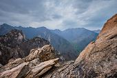 Rocks and stones in cloudy weather. Seoraksan National Park, South Korea poster