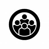 User Group Icon With Flat Style. Management Business Team Leader Sign. Teamwork With Love Icon. Heal poster