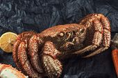 Closeup of of hairy crab with plate of red caviar poster