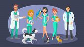 Veterinary Staff Flat Vector Color Characters. Cartoon Veterinarians, Receptionist, Pet Lovers, Nurs poster