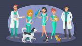 Veterinary Staff Flat Vector Color Characters. Cartoon Veterinarians, Receptionist, Pet Lovers, Nurs poster