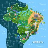 Landmarks On Latin America Map. Sightseeing Of Argentina And Brazil Country, City Sao Paulo, Buenos  poster