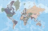 Political World Map In Mercator Projection Vector Illustration. poster