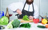 Man Master Chef Or Amateur Cooking Food. Sharp Knife Chopping Vegetable. Prepare Ingredient For Cook poster