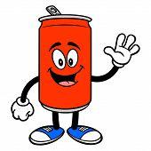 Soda Can Mascot Waving - A Vector Cartoon Illustration Of A Soda Can Mascot Waving. poster