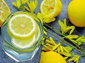 Detox Water With Lemon Juice. Lemon Water. Yellow Flowers On The Branches. Water With Lemon Wedges.  poster