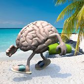 Brain With Arms, Legs, Sandals On Feet And Towel On Hand On The Beach, 3d Illustration poster
