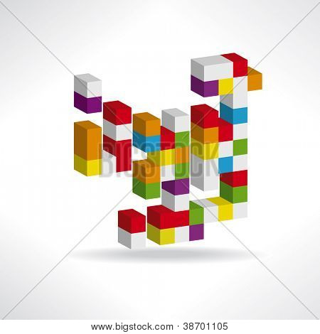 Abstract logo Multicolored cubes for a logo