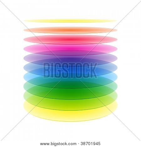 Rainbow cylinder layers. Vector.