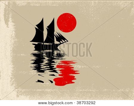 sailfish silhouette on grunge background