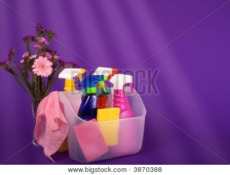 Spring Cleaning Supplies With Flowers