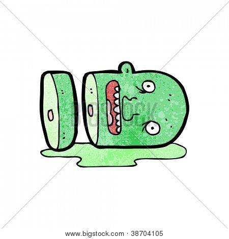 cabeça cartoon de monstro picado