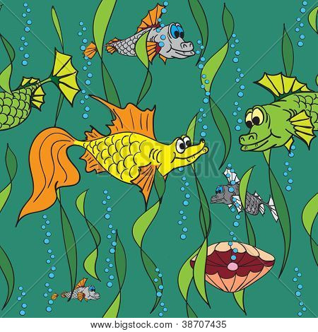 Fish in the sea. Vector illustration. Seamless texture.