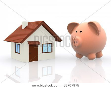 3D Saving for a house - isolated over a white background
