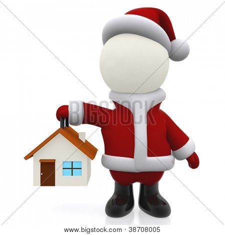 3D Santa holding a house for Christmas - isolated over white