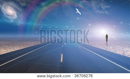 Man bathed in light and roadway